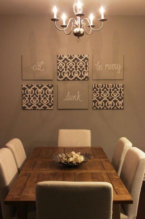 Вдохновляющие фразы и цитаты на стене в обеденной зоне.
