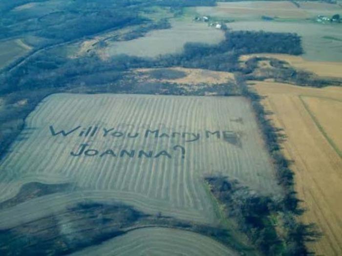Слова, вырезанные на поле с пшеницей.