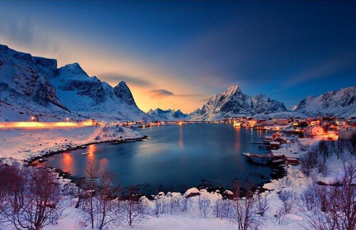 Очень красивая деревня в Норвегии.