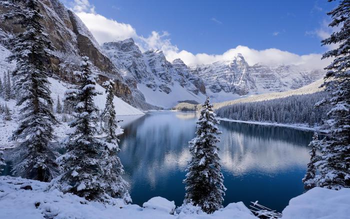 Красота озера Морейн зимой.