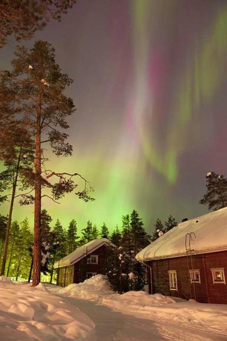 Северное сияние в Лапландии.