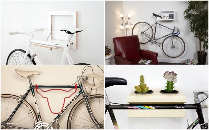 Стильные приспособления для хранения велосипедов.