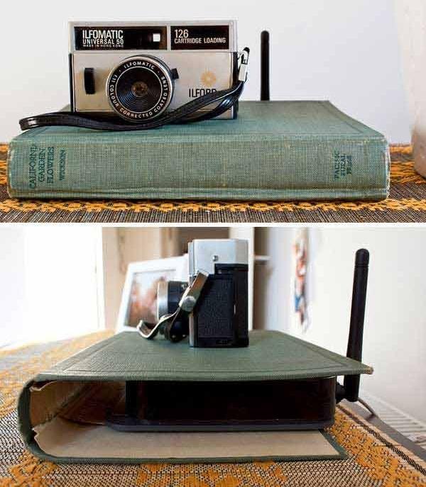 Обложка от книги в качестве украшения для Wi-Fi роутера.