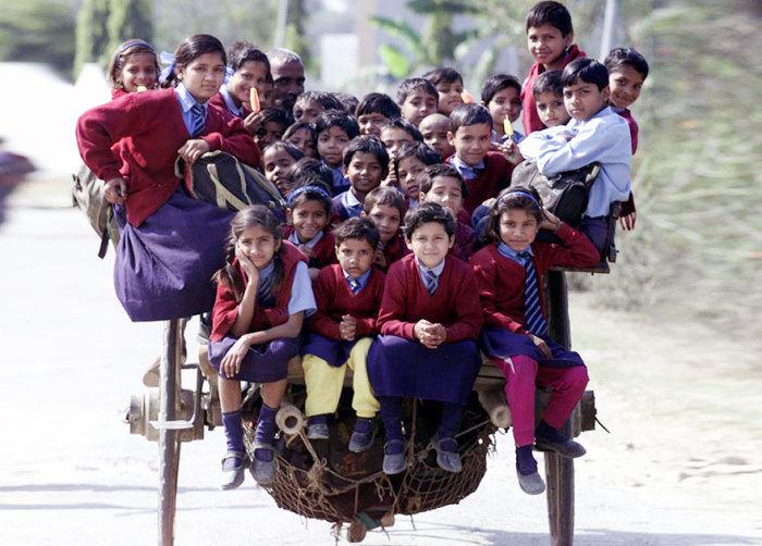 Дети в Дели, в Индии, добираются в школу на одной повозке.