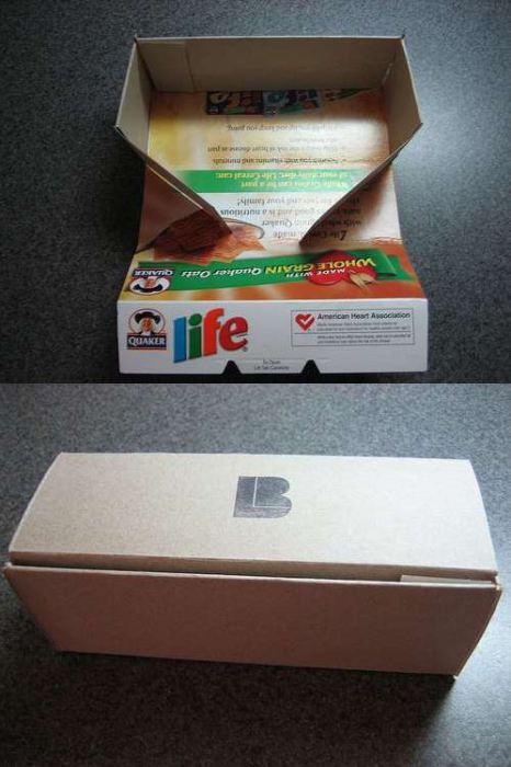 Вторичное использование картонной коробки из-под хлопьев.