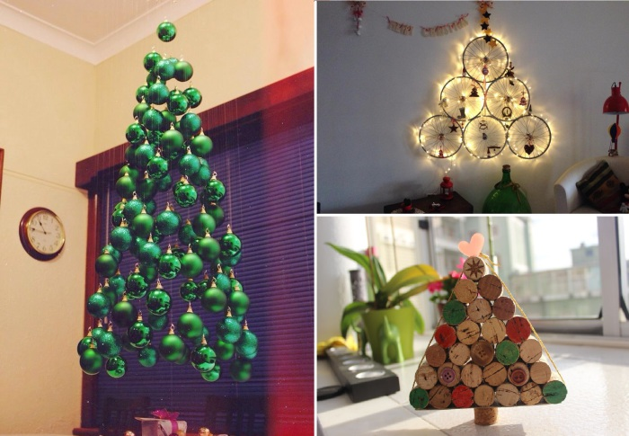 Оригинальные новогодние елки, сделанные своими руками.