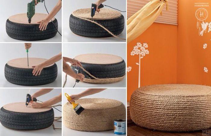 Покрышку легко превратить в удобное сиденье с помощью веревки и клея.