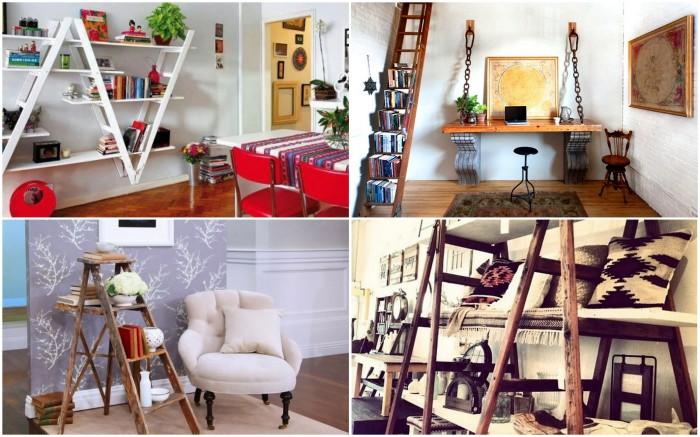 Стильные книжные полки из старых лестниц.