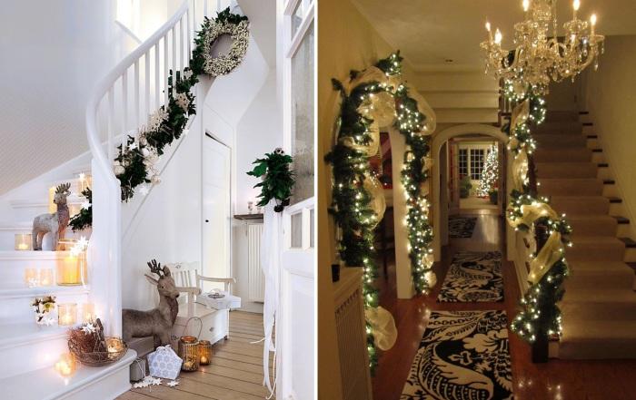 Интересные примеры новогоднего дизайна холла.