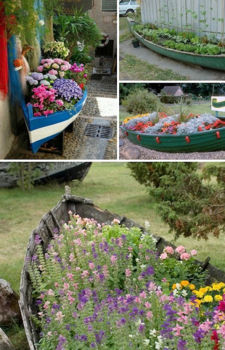 Отличный способ превратить старую лодку в восхитительное кашпо для сада.