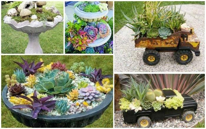 Идеи кашпо для сада своими руками фото