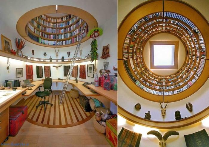 Книжный шкаф над головой.