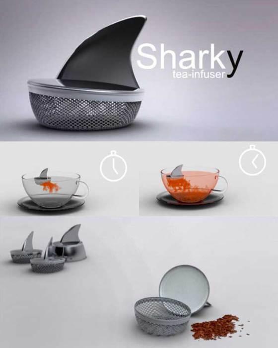 Оригинальное ситечко для чая, напоминающее плавник акулы.