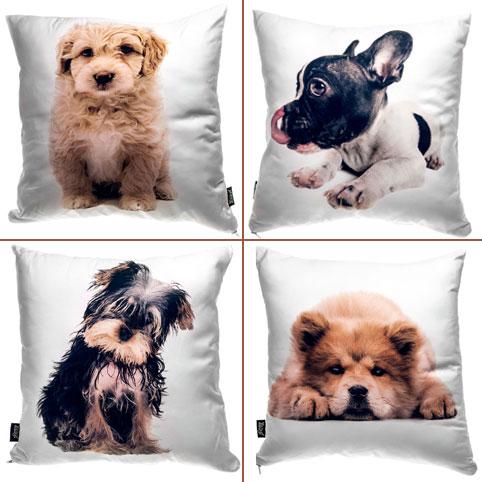 Подушка с нарисованным домашним животным.