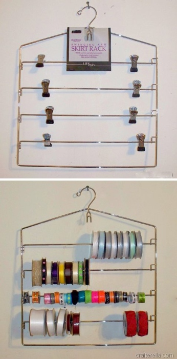 Удобный способ хранения разноцветных ленточек для творчества.