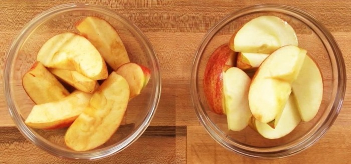 Надолго светлые ломтики яблок.