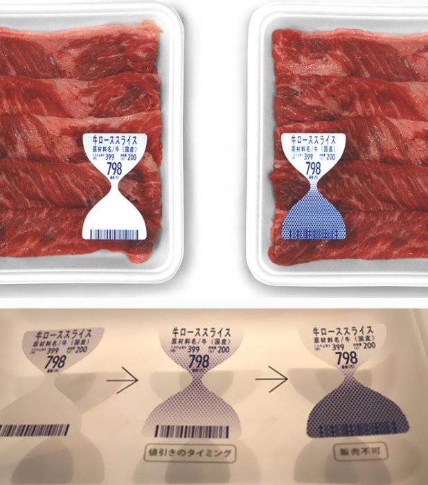 Чем дольше мясо стоит на прилавке, тем темнее становится ее индикатор свежести.