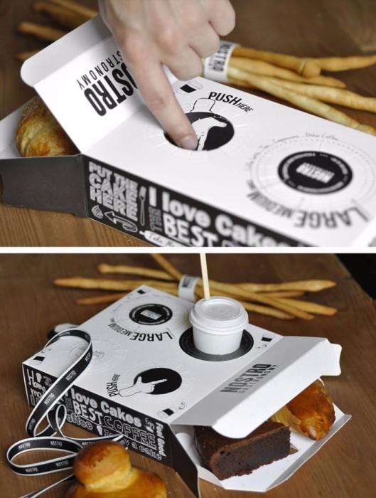 Упаковка с отверстием для стакана с кофе.