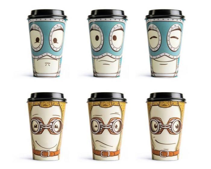 Чашки для кофе с лицами с разными эмоциями.
