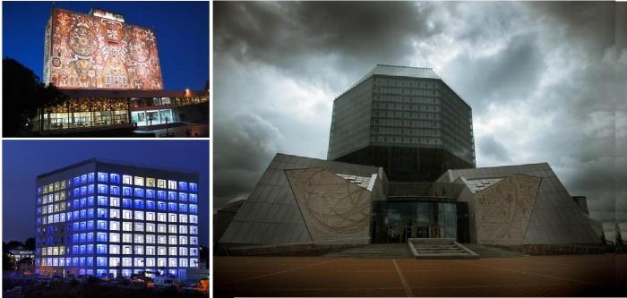 Построенные в современном стиле здания библиотек с разных уголков мира.