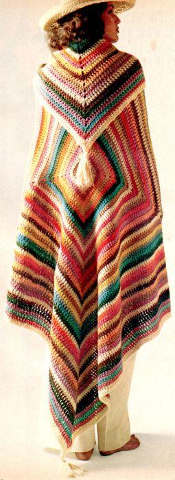 Яркий вязанный плед в качестве атрибута, 1970-е.