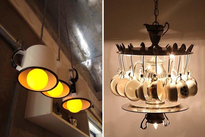 Оригинальные светильники из кухонной утвари.
