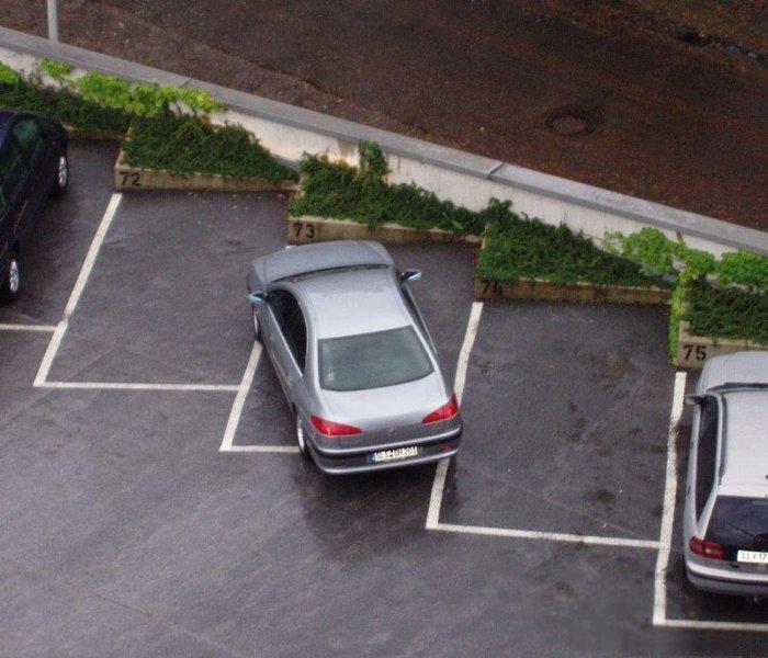 Человек, который паркуется таким образом должно быть немного косит.
