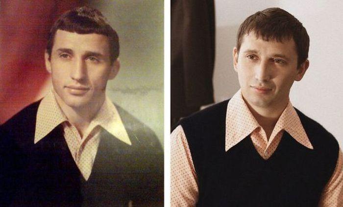 Фото отца и сына в одном и том же возрасте и в одной и той же рубашке.