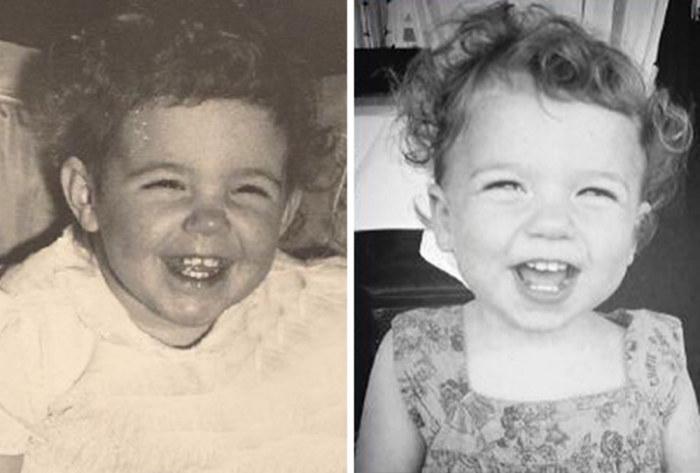 Радостные бабушка и ее внучка в одинаковом возрасте.