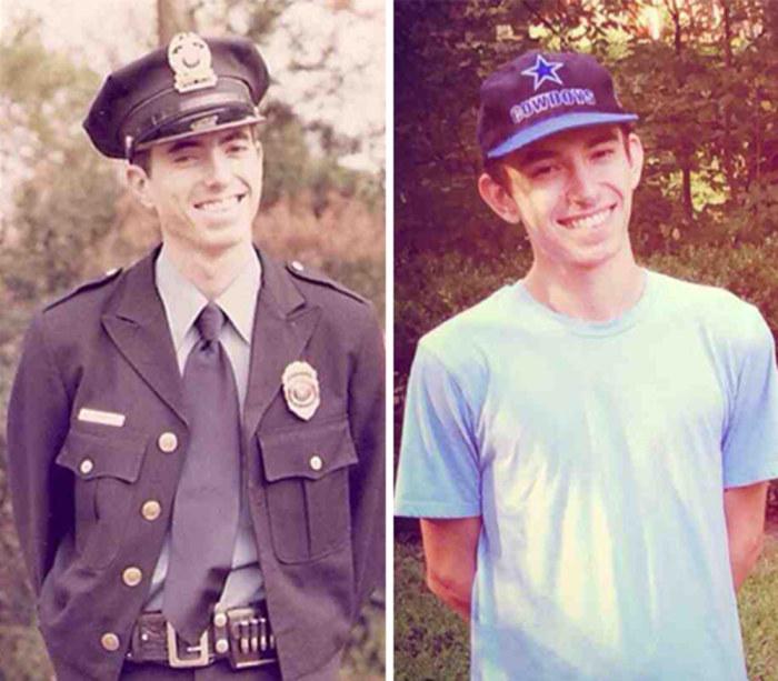 Улыбающиеся отец и сын в одном и том же возрасте.