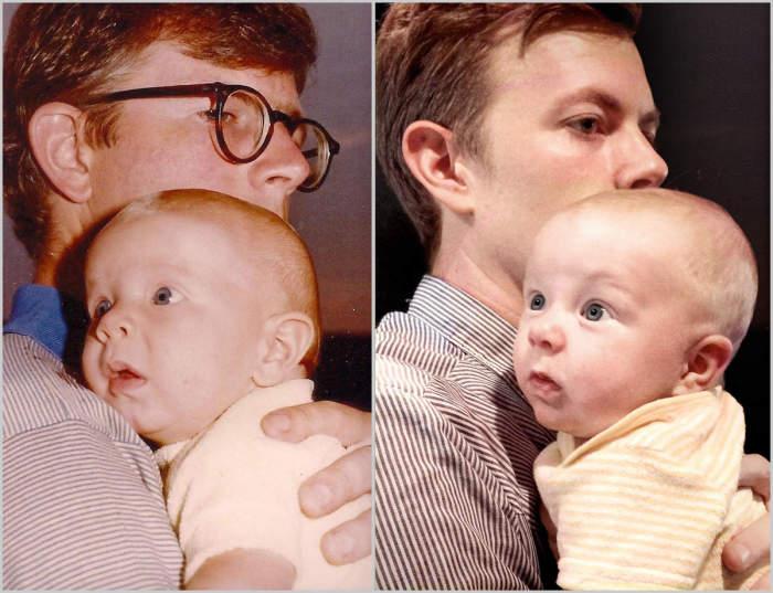 Отцы держат на руках своих маленьких сыновей.