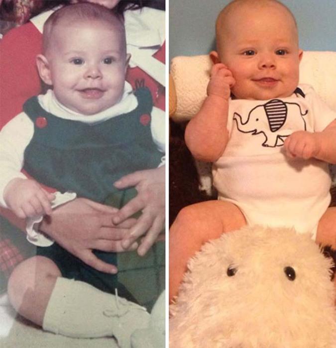 Похожие фотографии отца и сына в младенчестве.
