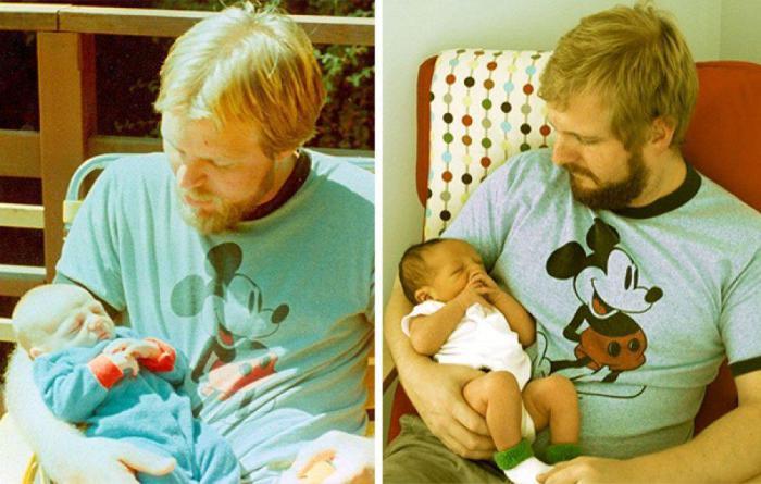 Трогательная фотография отца и сына со своими сыновьями.
