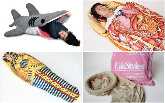 Спальные мешки самых неожиданных форм и расцветок.