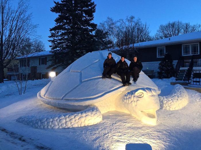 Впечатляющая черепаха из снега.