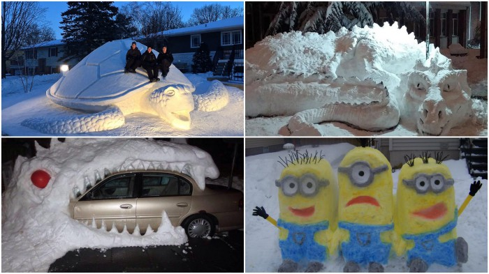 Необычные скульптуры из снега.