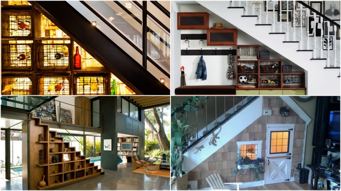 Варианты оформления свободного пространства под лестницей.