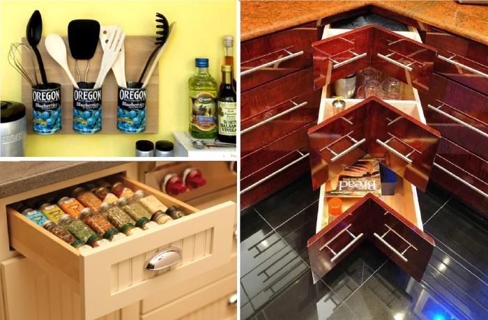 Полезные способы экономии места на кухне.