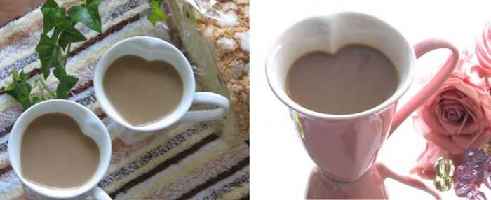 Чашки в виде сердец для влюбленных парочек.