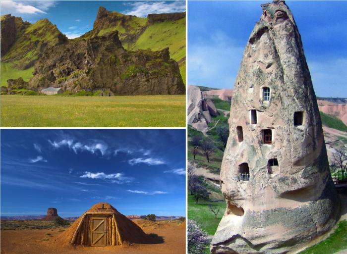 Необычные дома, устроенные в скалах, в глине и под землей.