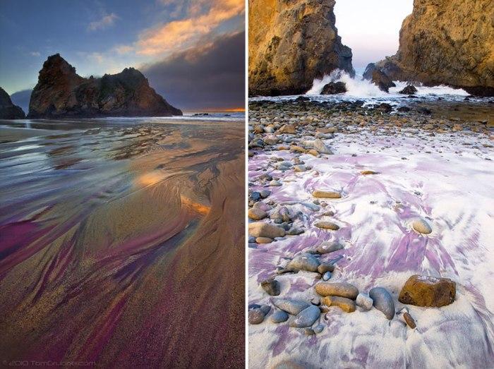 Разводы фиолетового песка на пляже.