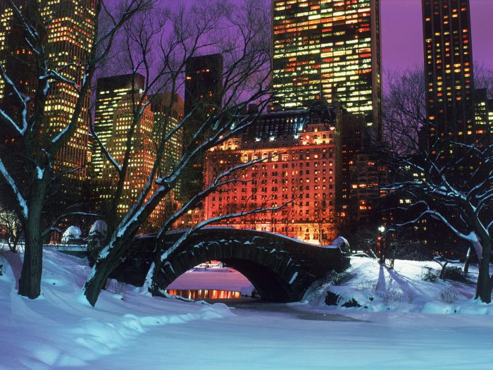 Новогодний вид Нью-Йорка.