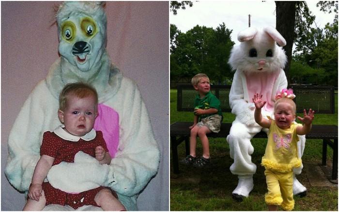 Жуткие костюмы кроликов на Пасху.