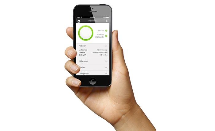 Информация с Nest Protect на экране смартфона.