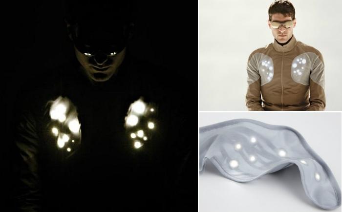 Куртка со светодиодами обеспечит безопасность на дороге.