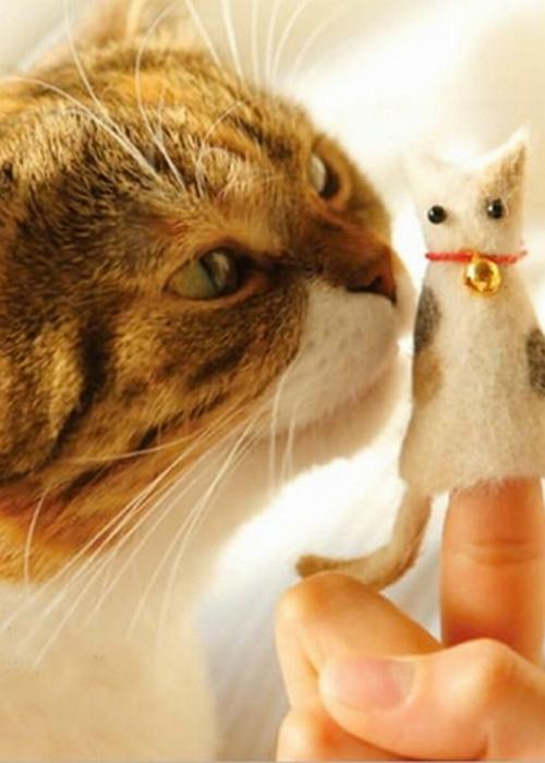 Куколка из кошачьей шерсти.