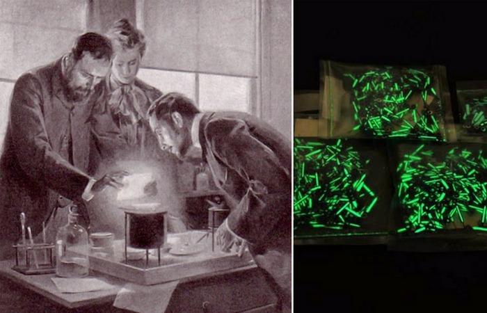 Мария и Пьер Кюри экспериментируют с радием.
