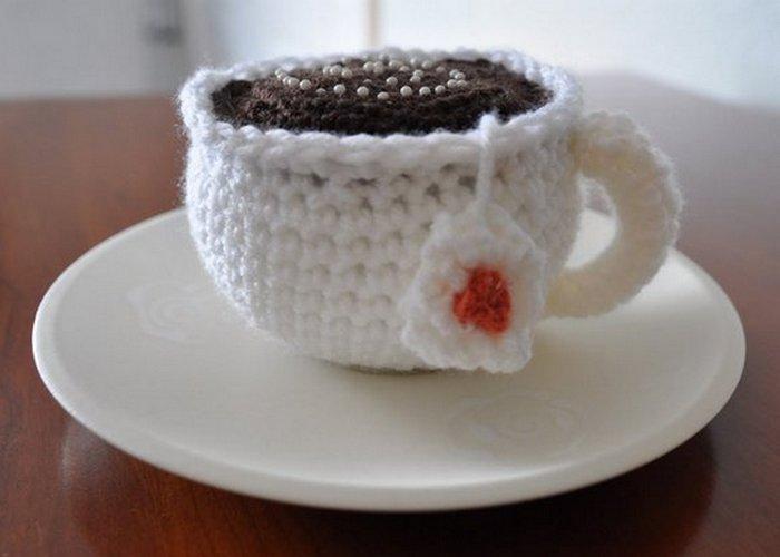 Кофейная гуща как наполнитель подушечки для иголок.