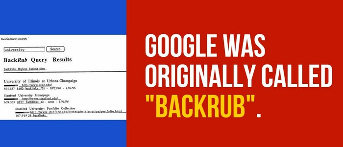 Google - это «BackRub».
