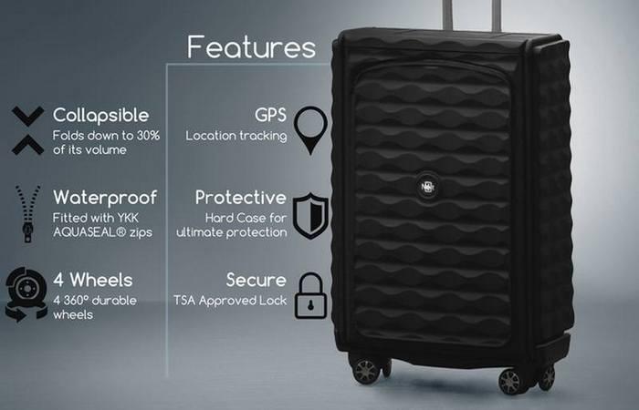 В чемодане есть датчики Bluetooth и GPS.